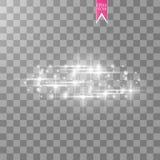 Vektorvit blänker vågabstrakt begreppillustrationen Mousserande partiklar för vit slinga för stjärnadamm och hastighetslinjer som Royaltyfri Fotografi