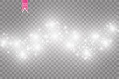 Vektorvit blänker vågabstrakt begreppillustrationen Mousserande partiklar för vit slinga för stjärnadamm som isoleras på genomski Fotografering för Bildbyråer