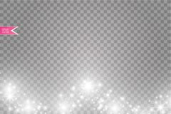 Vektorvit blänker vågabstrakt begreppillustrationen Mousserande partiklar för vit slinga för stjärnadamm som isoleras på genomski Royaltyfri Foto