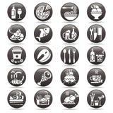 Vektorvit på den svarta cirkelknappuppsättningen av plana symboler och beståndsdelar om mat och drinken för meny för kokkonstreng Arkivbild