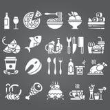 Vektorvituppsättning av plana symboler och beståndsdelar om mat och drinken för meny för kokkonstrengöringsdukrestaurang Fotografering för Bildbyråer