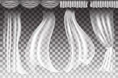Vektorvorhänge auf transparentem Hintergrund Stockbilder