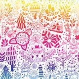 Vektorwalddesign, nahtloses mit Blumenmuster Stockbilder