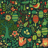 Vektorwalddesign, nahtloses mit Blumenmuster mit Waldtieren: Frosch, Fuchs, Eule, Kaninchen, Igeles Es kann für Leistung der Plan Stockfoto