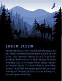 Vektorwalddesignschablone mit Bergen und Tieren Stockbild