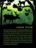 Vektorwaldhintergrund-Designschablone mit Bergen und Tieren Stockfoto