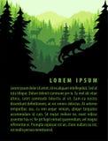 Vektorwaldhintergrund-Designschablone mit Bergen und Tieren Stockfotos