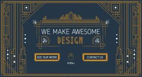Vektorwebsite-Schieberschablone in der dünnen Linie Modische Art- DecoArt Flaches Diadesign Stockbild