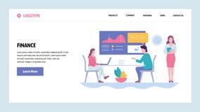 Vektorwebsitesteigungs-Entwurfsschablone Finanzbericht und Darstellung Lächelnder Geschäftsmann unter Verwendung des Laptop cmput stock abbildung