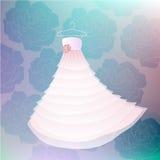 VektorWedding weißes Kleid mit rosafarbenem Hintergrund Stockbild