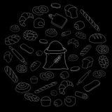 Vektorweißbrotikone eingestellt auf schwarzen Hintergrund Lizenzfreie Stockfotografie