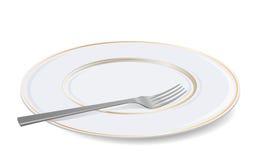 Vektorweiße Platte und -gabel. Stockbild