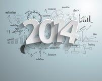 Vektorweißtags 2014 simsen Design an mit Zeichnung Lizenzfreie Stockbilder