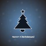 VektorWeihnachtsbaum auf blauem Hintergrund Stockfotografie