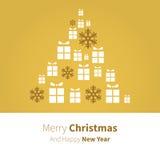 VektorWeihnachtsbaum im Geschenk im Gold Stockbilder