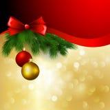 Vektorweihnachtshintergrund mit Bogen und Bällen Lizenzfreie Stockfotos