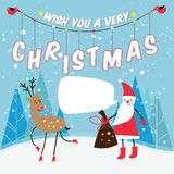 Vektorweihnachtsillustration von Weihnachtsmann Stockbild