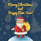 Vektorweihnachtskarte mit Weihnachtsmann Stockfotografie