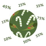 Vektorweihnachtsverkaufs-Fahnenplakat Rabattumbauten 10,15,25,25,35,45,55,75 stock abbildung