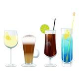 Vektorwein- und -cocktailgläser Lizenzfreie Stockfotografie