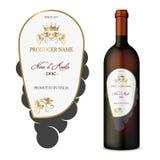Vektorweinaufkleber mit Flasche Stockfotos