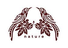 Vektorweinlese Emblem Tropische Vögel und Anlagen im aufwändigen Symbol vektor abbildung