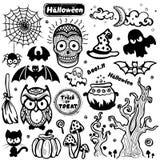 Vektorweinlese Halloween-Satz Ikonen Lizenzfreies Stockbild