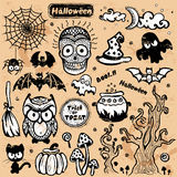 Vektorweinlese Halloween-Satz Ikonen Stockfotos