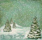 Vektorweinlese-Postkarte Weihnachten Lizenzfreies Stockfoto
