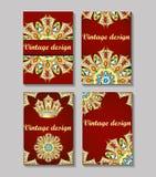 Vektorweinlese-Visitenkartesatz Blumenmandalamuster und Orn Stockfoto