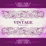 Vektorweinlesedekor Stilisiertes mit Blumenmuster Grafikgrenze Schablone für die Verzierung von Einladungen, Grußkarten, Karten t Lizenzfreies Stockfoto