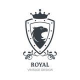 Vektorweinleselogo-Designschablone Eagle, Krone, Schild und La Lizenzfreies Stockbild