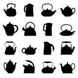 Vektorweinleselogo-Teekannensatz Lizenzfreies Stockfoto