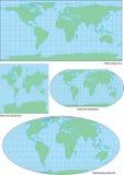 Vektorwelthöhenlinienkarte in vier Projektionen lizenzfreie abbildung