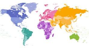 Vektorweltkarte gefärbt durch Kontinente lizenzfreie abbildung