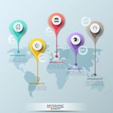 Vektorweltkarteillustration und infographics Designschablone Lizenzfreie Stockfotos