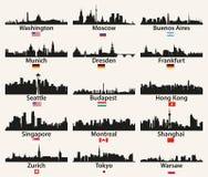 Vektorweltstadt-Skylineschattenbilder mit Flaggen vektor abbildung