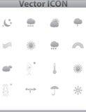 Vektorwetter-Ikonen. gesetzte graue Ikone des Netzes. Lizenzfreie Stockbilder