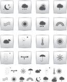 Vektorwetter-Ikonen. Web llustration Grau. Lizenzfreies Stockfoto