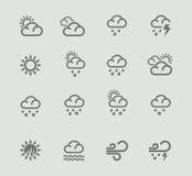 Vektorwettervorhersage-Piktogrammset. Teil 1 Stockbild