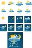 Vektorwettervorhersagealle Ikonen + trennen sich Stockfotos