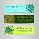 Vektoryogaillustration Mall av affischen för internationell yogadag Reklamblad för 21 Juni, yogadag Arkivbilder