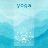 Vektoryogaillustration Plakat für Yogaklasse mit einem Naturhintergrund Lizenzfreies Stockbild