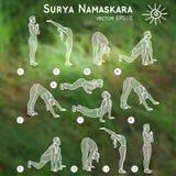 Vektoryogaillustration Surya-namaskara Yogasatz Stockfoto