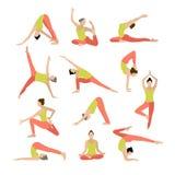 Vektoryogaillustration Yogasatz Frauenyoga Lizenzfreie Stockfotos