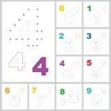 Vektorzahlenspiel Punkt zu punktieren Satz Zahlen Stockbilder