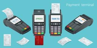 Vektorzahlungsmaschine und -Kreditkarte Positions-Anschluss bestätigt die Zahlung durch Debetkreditkarte, invoce Vektor Stockfotografie