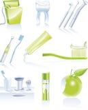 Vektorzahnmedizinisches Ikonenset Stockbilder