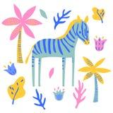 Vektorzebrapferdesäugetierwilder Tierbetriebskindischer netter Illustrationssatz stock abbildung