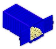 Vektorzeichnung des Behälters mit Sammelpacks auf Paletten auf weißem Hintergrund lizenzfreie abbildung